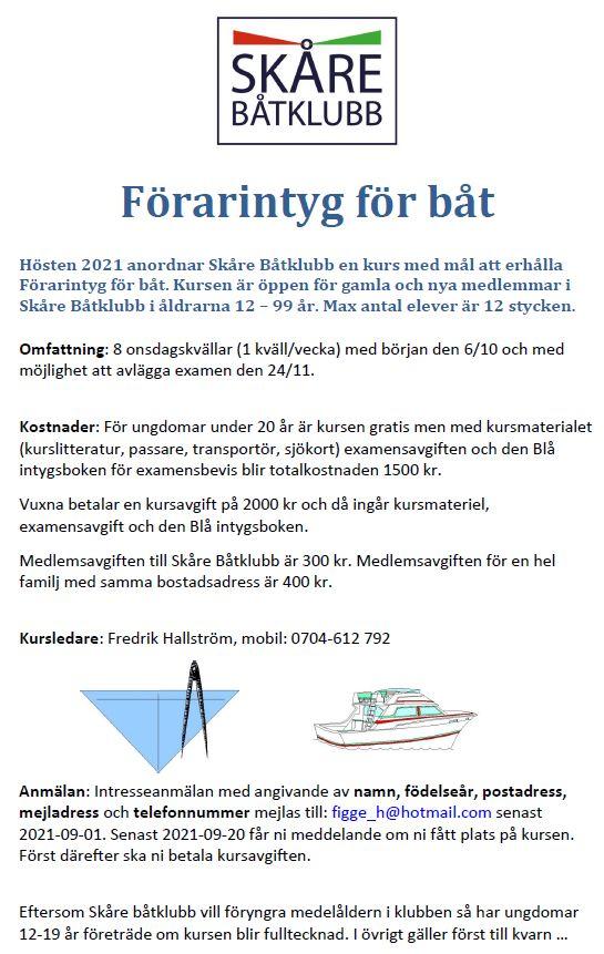 Kurs för förarintyg för båt